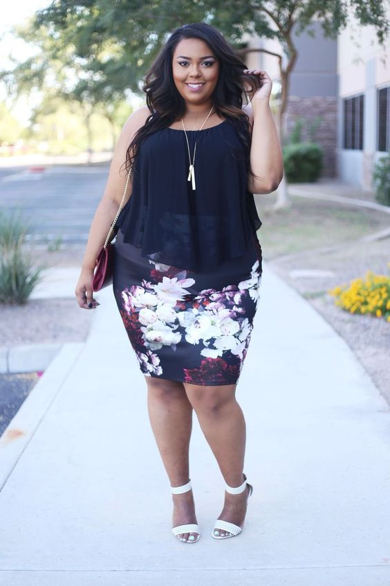a black sleeveless chiffon top, a floral pencil knee skirt, white shoes for a date or to work