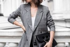 04 a grey plaid blazer, a white top and black pants can eb worn to work