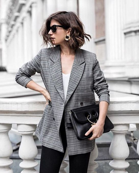a grey plaid blazer, a white top and black pants can eb worn to work