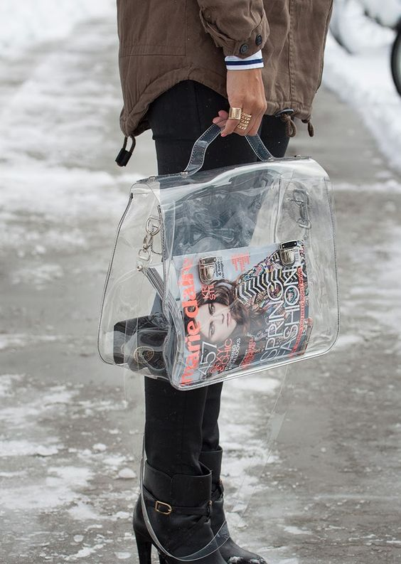 a large clear bag is ideal to go to the office, it can accomodate a lot of things