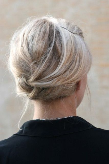 a twisted updo is very comfortable to wear, secure it with hair pins