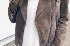 04 a white shirt with buttons, blue skinnies and a brown suede jacket