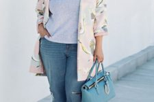 04 blue boyfriend jeans, a grey printed tee, heels and a tender blush floral long jacket