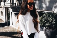 05 a black mini skirt, a white embellished sweatshirt for a casual yet sport chic look