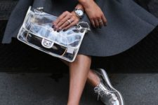 05 a trendy clear bag by Chanel is a bold idea to accentuate your outfit