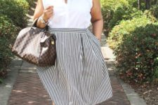 05 a white sleeveless shirt, a striped knee full skirt and red flats for a comfy and girlish look