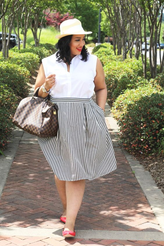 a white sleeveless shirt, a striped knee full skirt and red flats for a comfy and girlish look