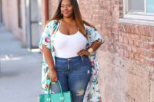 05 a white spaghetti strap top, blue ropped skinnies, a bold floral kimono and a bold green bag