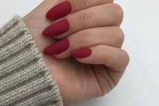 05 matte red almond nails look very chic and feminine