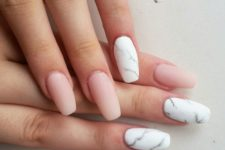 05 nude matte nails plus white marble accent ones for a gorgeous trendy look