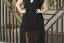 06 a black mini dress with a sheer midi overdress, a statement necklace and red shoes