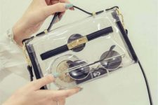 06 a gorgeous clear crossbody bag with black leather and gold detailing
