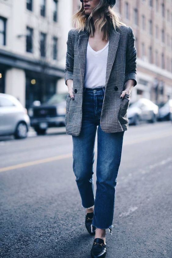 a tweed jacket, jeans, a white t shirt, loafers is a great casual look