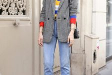 06 blue cuffed jeans, a colorful printed tee, a grey plaid blazer and printed shoes