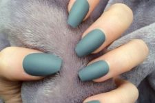 06 matte dark green nails are a chic idea even for every day