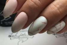 06 ombre pink nails plus two white with a rose gold marble effect ones for a romantic girl