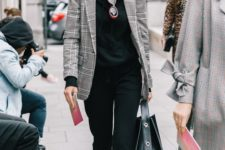 07 black pants and a hoodie, creamy flats and a checked grey blazer over the outfit