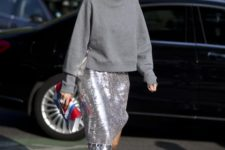 08 a grey sweatshirt, a silver sequin midi skirt and silver lacing up shoes