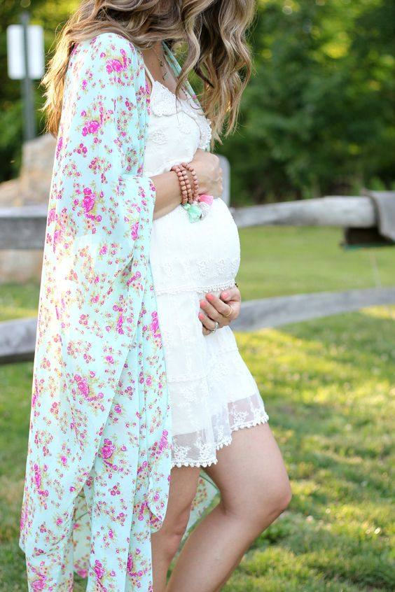 a white lace dress over the knee, a bright colorful kimono to look feminine