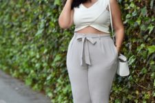 08 an ivory geometric crop top, dove grey pants, nude shoes and a whte bag for summer