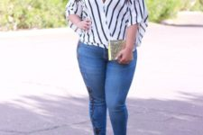 08 blue embellished skinnies, a striped blouse with a deep V-neck and red strappy shoes