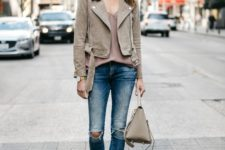 08 blue ripped skinnies, a mauve top, a grey suede moto jacket and a matching bag, nude heels