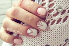 08 blush nails plus two geometric ones with a negative space for a casual feel