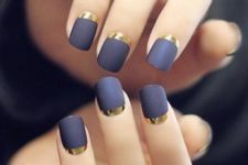 08 purple grey matte nails with gold half moons look very chic