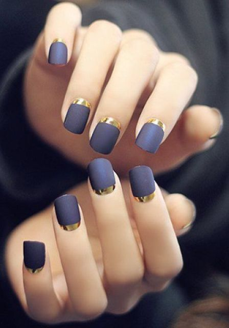 purple grey matte nails with gold half moons look very chic