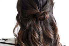 08 wavy half up half down office hairstyle with a small bun