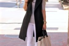 08 white skinnies, a grey tee, red lace up flats and a black long vest for a a weekend look
