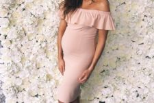 09 a blush off the shoulder midi dress with a ruffled neckline and strappy heels