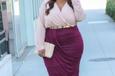 09 a blush wrap blouse with long sleeves and a V-neckline, a plum wrap skirt and matching shoes for a party