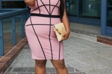 09 a fitting pink and black geometric knee dress with a cutout, a clutch and black shoes