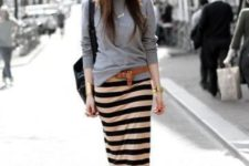 09 a grey sweatshirt, a striped midi pencil skirt, a leather belt and boots