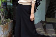 09 a neutral top, black culottes, comfy black and nude heels and a black bag