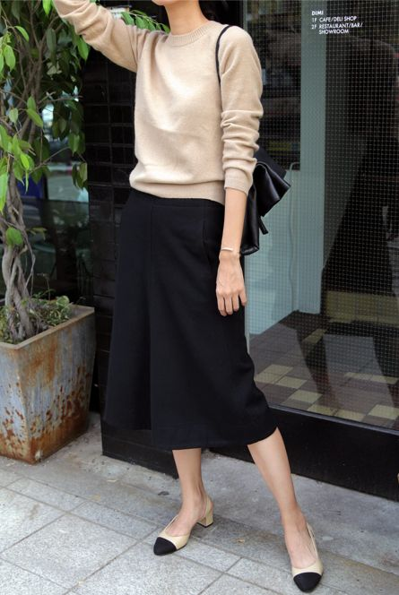 a neutral top, black culottes, comfy black and nude heels and a black bag