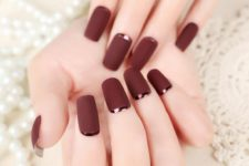 09 matte burgundy nails with dark copper crescent moon accents