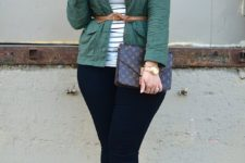 09 navy skinnies, a striped top, a green jacket and leopard printed shoes