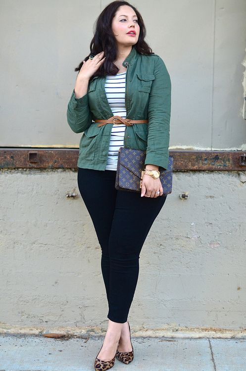 navy skinnies, a striped top, a green jacket and leopard printed shoes