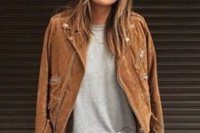 09 white skinnies, a grey top and a brown suede jacket for a cool and unusual look