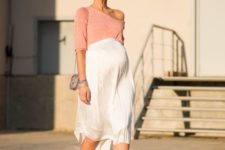 10 a blush one shoulder top with sleeves, a white pleated skirt, lace up shoes