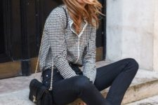 10 black skinnies, a checked shirt, red vintage shoes and a black bag