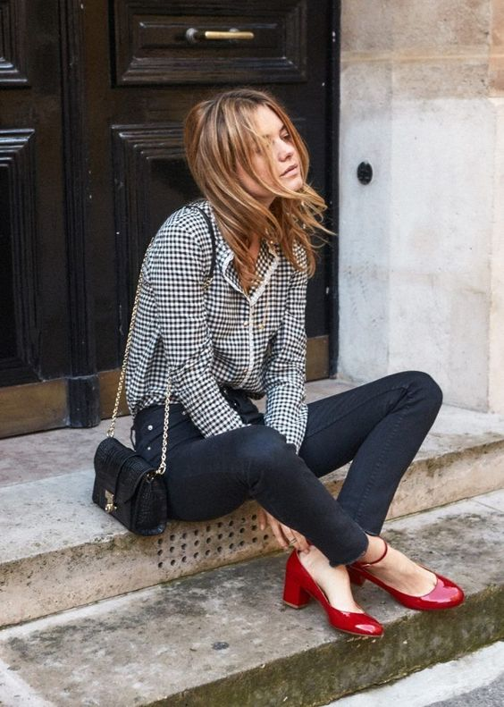 black skinnies, a checked shirt, red vintage shoes and a black bag