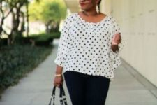 10 black skinnies, a polka dot blouse, neon yellow shoes and statement eaarings