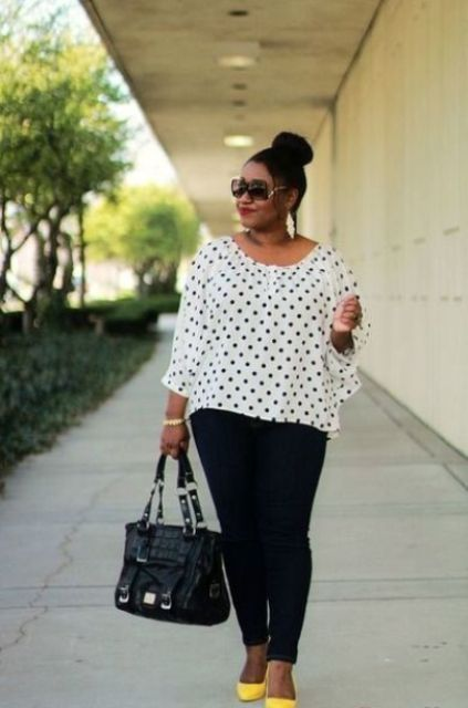 black skinnies, a polka dot blouse, neon yellow shoes and statement eaarings
