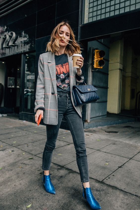 grey button down skinnies, a printed tee, a checked blazer and electric blue chelsea boots