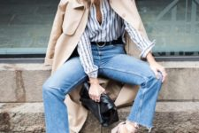 10 nude strap shoes, blue raw edge jeans, a striped shirt and a tan trend show off all the trends