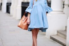 11 a cute chambray short dress with bell sleeves and metallic shoes to match