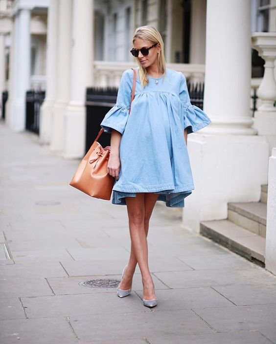a cute chambray short dress with bell sleeves and metallic shoes to match